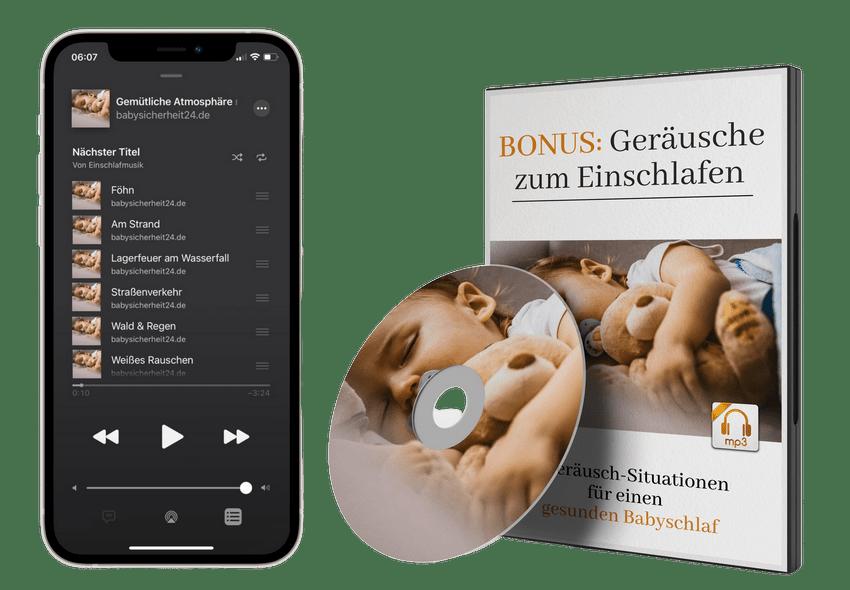 Iphone mit Playlist - Geräusche zum Einschlafen transparent 950x950